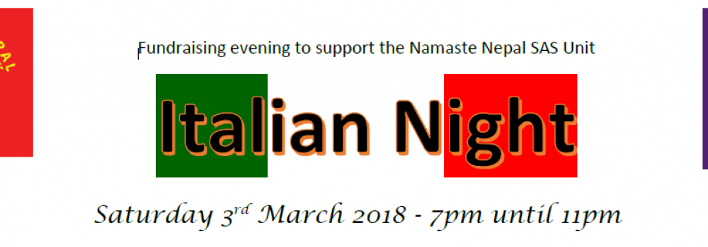 Italian Night fund raiser for Namaste Nepal